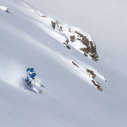 Ski run in the deep snow