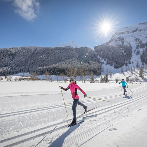 Cross-country skiing in the beautiful winter landscape