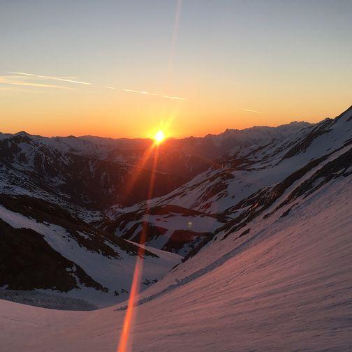 Ski tour at sunrise